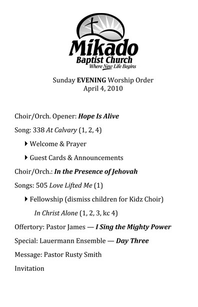 Examples of a worship order | Koerts Music