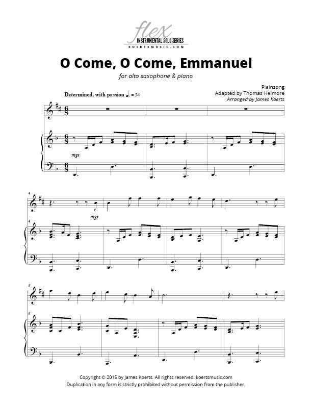 All Music Chords saxophone solo sheet music : O Come, O Come, Emmanuel (alto sax)