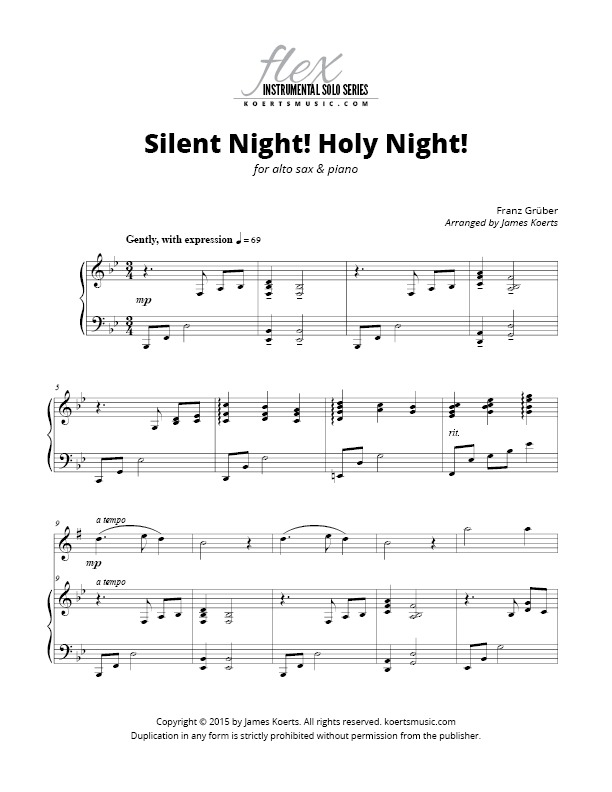 All Music Chords saxophone solo sheet music : Silent Night! Holy Night! (alto sax)