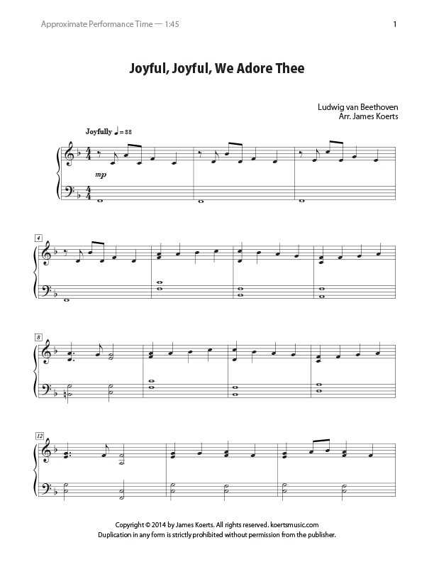 New free piano arrangement: Joyful, Joyful, We Adore Thee