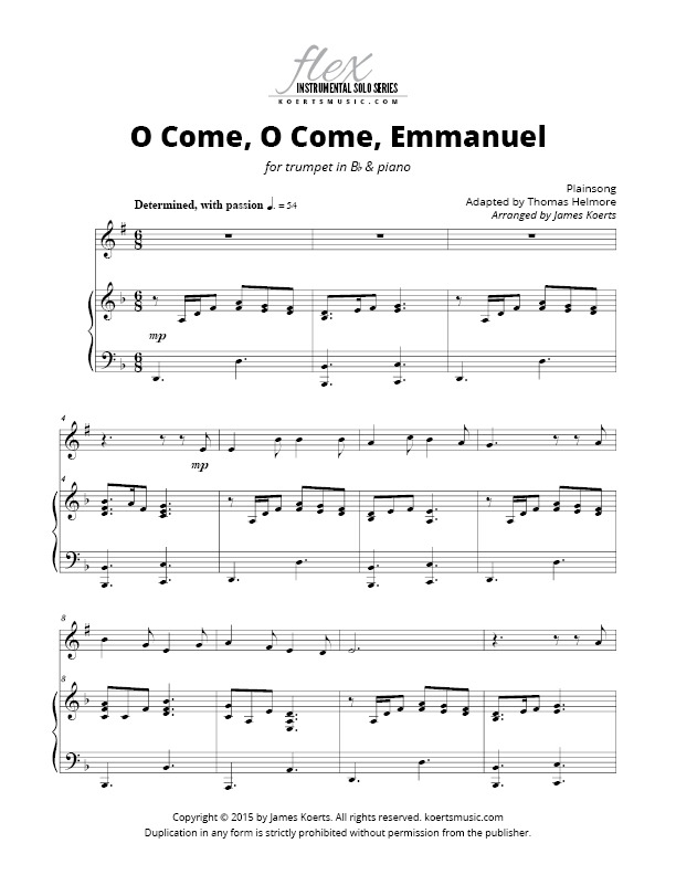 Piano piano and trumpet duet sheet music : O Come, O Come, Emmanuel (trumpet)