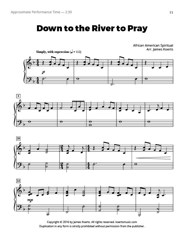 Lyric lyrics to down to the river : Piano Solo | Koerts Music - Part 8