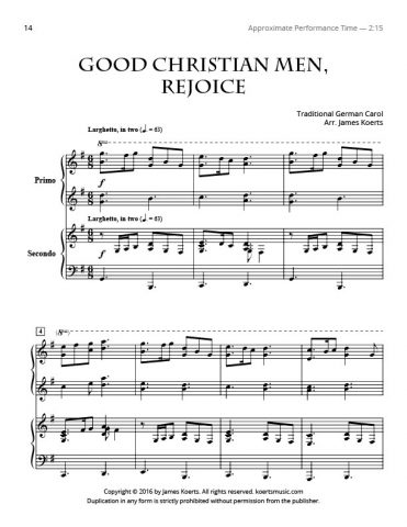 Good Christian Men, Rejoice – Piano Duet