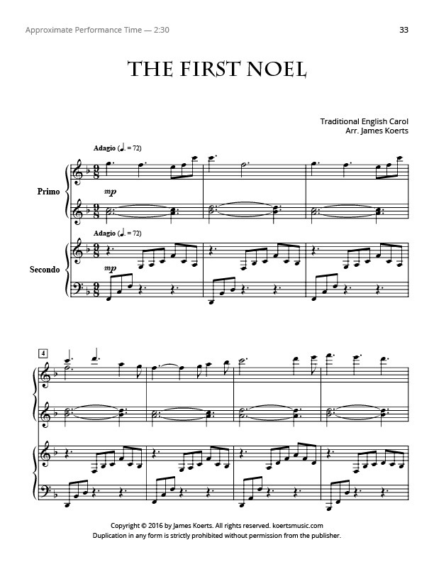The First Noel – Piano Duet