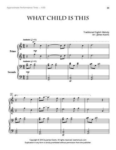 What Child Is This – Piano Duet