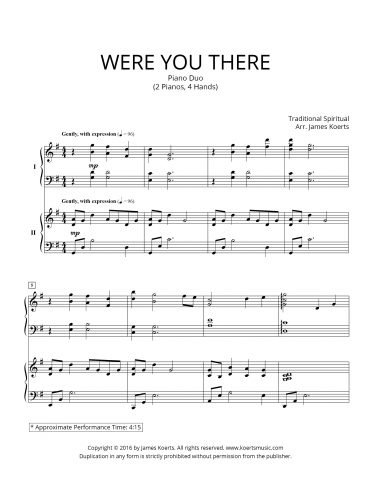 Were You There — 2 Piano Duo