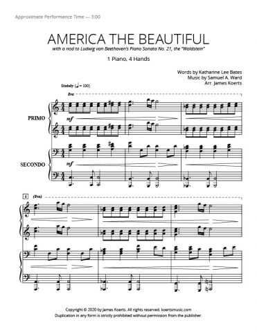 America the Beautiful – 1 piano, 4 hands
