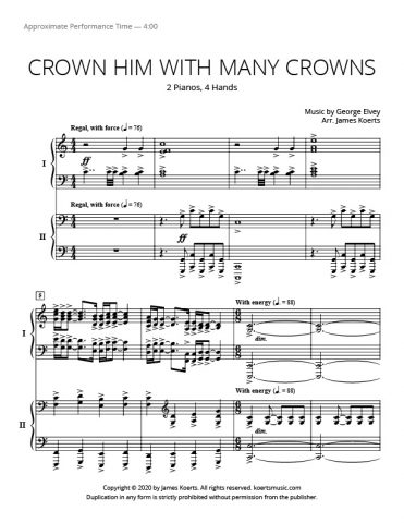 Crown Him with Many Crowns – 2 pianos, 4 hands