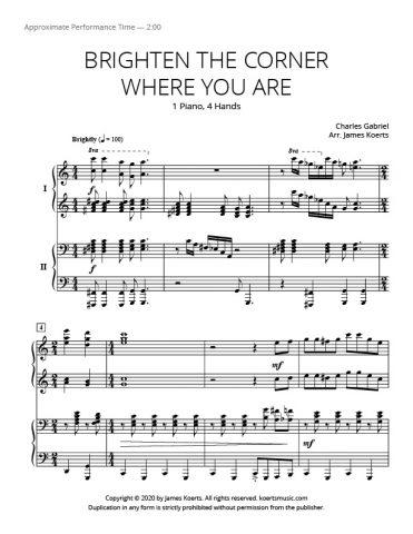 Brighten the Corner Where You Are – Piano Duet