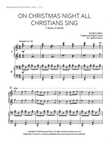 On Christmas Night All Christians Sing – Duet
