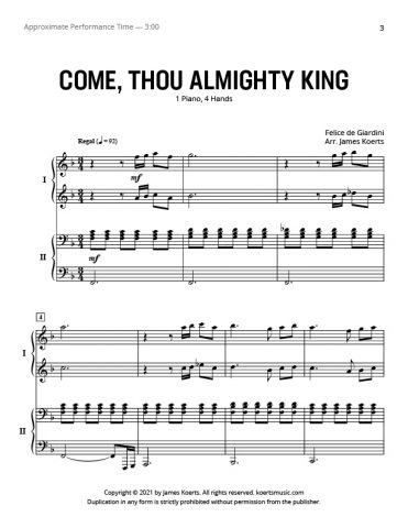 Come, Thou Almighty King – Piano Duet
