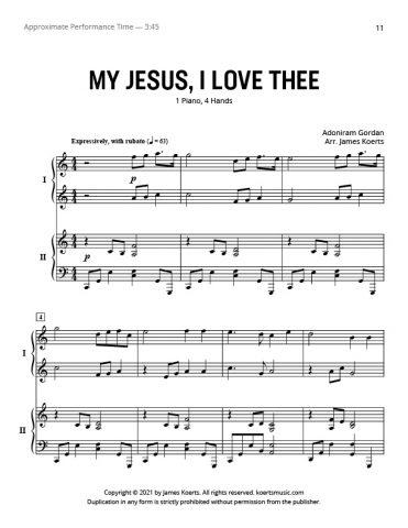 My Jesus, I Love Thee – Piano Duet